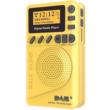 Radio de voyage DAB+ RNT FM affichage LCD Jaune