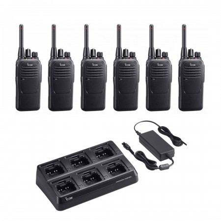 Lot de 6 Icom IC-F29SR Portatif sans licence norme PMR446 avec chargeur