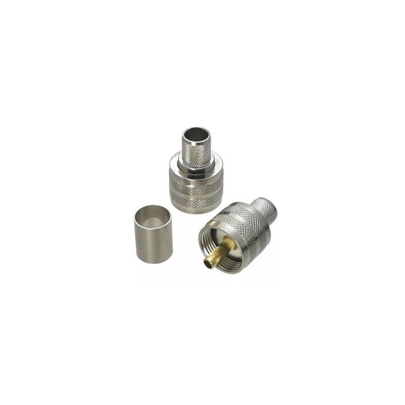 Connecteur UHF PL259 Mâle pour câble coaxial LMR400 RG213 à sertir