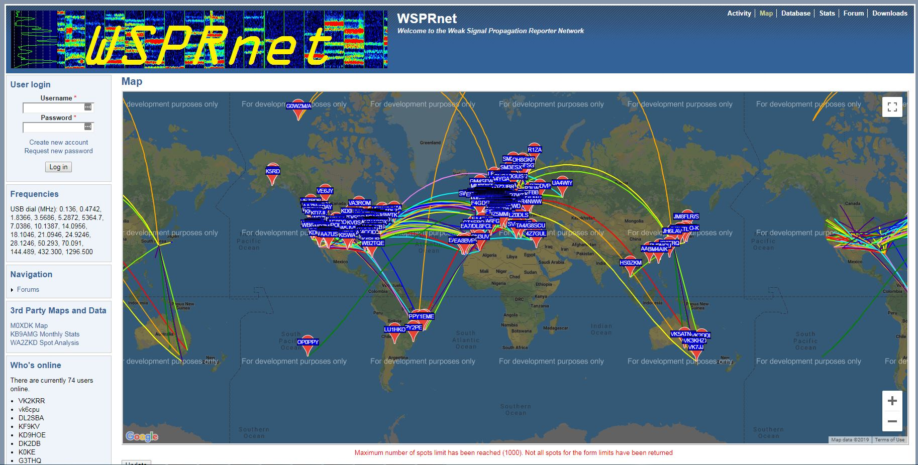wspr carte reception